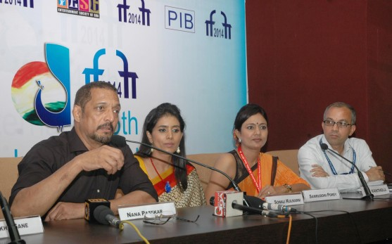 Press conference by Nana Patekar, Actor, Sonali Kulkarni, Actress and Samruddhi Porey, Director of Marathi film 'DR. PRAKASH BABA AMTE', at the IFFI.