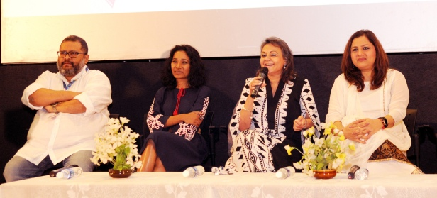 The Director Shoojit Sircar, Tannishtha Chatterjee & Vani Tripathi at the Panel Discussion on changing discourse around women and commerce in cinema, moderated by Vandana Malik, at the 47th International Film Festival of India (IFFI-2016), in Panaji, Goa on November 22, 2016.